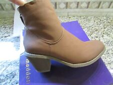 NEW MADDEN GIRL GLEEE COGNAC BOOTIES ANKLE  BOOTS WOMENS 7  ZIP BACK FREE SHIP