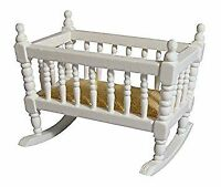 1/12 Streets Ahead Dolls House Small Baby Rocking/Rocker Crib/Cot White DF287WH