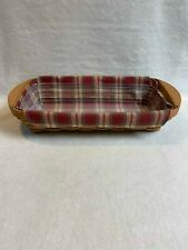 Longaberger (2003) Small Rectangle Shaped Bagel Serving Basket with Wood Handles