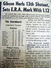 1968 newspaper ST LOUIS CARDINALS pitcher BOB GIBSON sets new ERA RECORD of 1.12