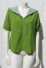 ZENERGY by CHICO'S Green French Terry Hooded Cardigan Jacket Top size 2 12 14