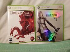 Xbox 360 Lot of 2 Games- Dragon Age Origins & Final Fantasy XIII - Free Shipping