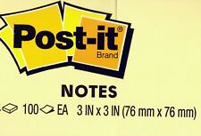 Genuine 3M Post-It Brand Notes 3x3 inch 100 Sheet Pad Canary Yellow Save on Qty