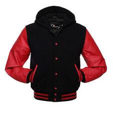 Varsity Black/Red wool Letterman collage Jacket  Real Leather sleeves