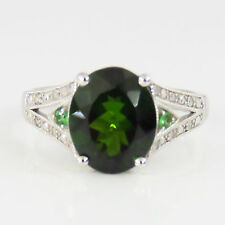 NYJEWEL Brand New 10K White Gold Green Tourmaline Diamond Cocktail Ring