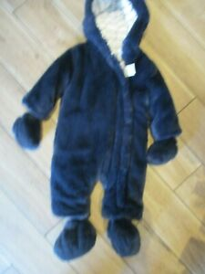 River Island Baby Navy Faux Fur Snowsuit Pram Suit Hooded All In One 9-12 MTHS