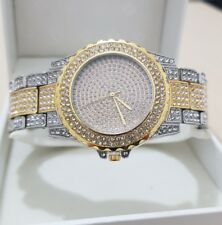 18k Gold Plated Iced Out  Hip Hop Diamond Watch Mens