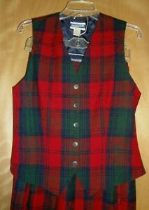 VTG Pendleton Womens 2 piece Pleated Red Plaid Skirt & Vest Set sz 6 Made in USA