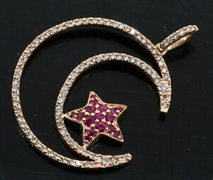 BITA 14K rose gold 1.56CT diamond & ruby star moon pendant