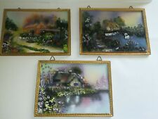Vintage Resin / Chalkware Pictures 3d Hand Painted Cottage Scenes X3 Vgc