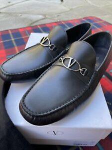 Valentino Garavani Men's Driving Shoe Loafer Moccasin Black Calf Leather Sz 9.5