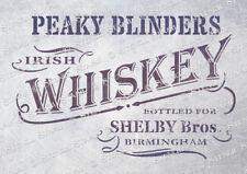 Peaky Blinders Whiskey 5 Sizes STENCIL PBW Vintage Furniture, SUPERIOR 250 MYLAR