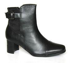 Barratts UK 5 (EU 38) Ladies Hebden Basic Heeled Leather Look Black Ankle Boots