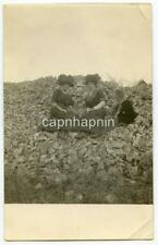 Big Hat Edwardian Fashion Women On Rocks GHOST CHILD? 1910s Real Photo RPPC