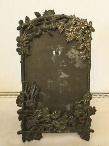 Antique Edwardian ART NOUVEAU REPOUSSE Silvered Tin Picture Frame w Easel Back