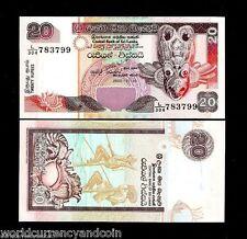 SRI LANKA 20 RUPEES P116 2005 CEYLON BIRD MASK UNC CURRENCY ANIMAL MONEYBANKNOTE