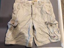 HOLLISTER Mens Cargo Shorts, Size 30, Tan Khaki Button Fly, 6 Pocket, Distressed