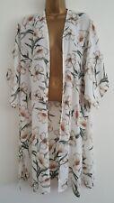 NEW Plus Size 16-28 White Green Floral Chiffon Longline Kimono Top Tunic Blouse
