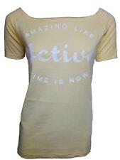 T-shirt Donna TWO PLAY tg XS Maglia in Jersey Fermo Giallo pastello Mezza Manica