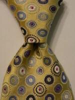 GLADSON Mens 100% Silk Necktie ITALY Luxury POLKA DOT Yellow/Blue/White/Pink EUC