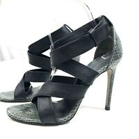 ALEXANDER WANG 7 1/2 Black Leather Strap Sandals SNAKE PRINT HEEL 38.5      0144