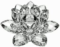 100mm/4'' Home Wedding Decor Glass Crystal Lotus Flower Feng Shui Paperweight