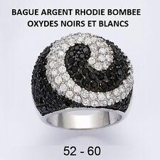 GROSSE BAGUE RHODIE BOMBEE D'OXYDES NOIRS ET BLANCS  en Argent Massif 925
