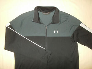 UNDER ARMOUR FULL ZIP BLACK & GRAY FITTED ATHLETIC JACKET MENS XL EXCELLENT COND