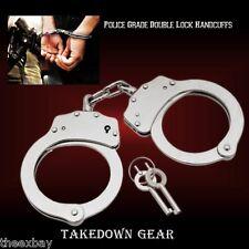 Nickel HAND Handcuffs POLICE CUFFS NEW Double Locking Hand Cuffs Steel 2 Keys