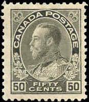 Mint H 1917 Canada F+ 50c Scott #120i King George V Admiral Issue Stamp