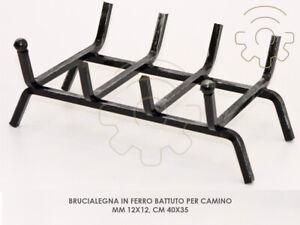 Brucialegna in ferro batturo per camino mm 12x12 cm 40x35 sostegno per legna