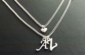 Personalised Double Initial Silver Plate Multi Layer Heart Necklace & 2 Letters