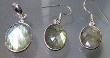 Stering silver lightweight faceted LABRADORITE pendant & earrings set.