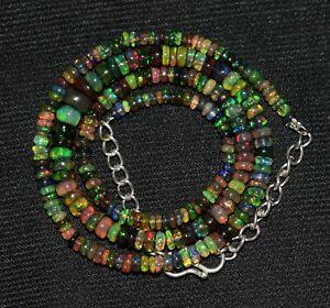 Solid 925 Sterling Silver Ethiopian Black Opal Gemstone Beads 7''Bracelet AG