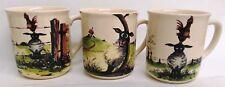Ewes Mugs Cream Ceramic Set of 3 Funny Sheep Scenes Cups Hand Decorated in UK