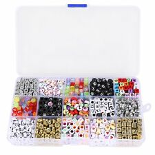 Kit of 1100 letter alphabet beads for braided bracelet with storage box T8W1