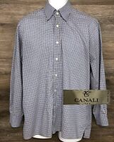 CANALI 1934 Men's Blue Gray Gingham Long Sleeve Button Down Designer Shirt L