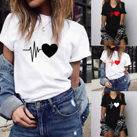 Women Loose Short Sleeve T Shirt Heart Print T-Shirt Casual Crew Neck Top Blouse