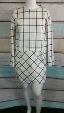 French Connection White Black Plaid Shift Work Dress Sz 12