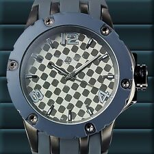 NEW Deporte Ardmore 62623503 Mens Grey Silicone Silver Dial Watch W/ Silent Tick