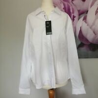 New M&S Womens White Long Sleeve Cotton Rich Button Up Blouse Size 16