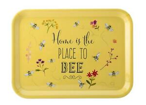 BEES BEE HAPPY FLORAL FLOWER LARGE FOOD SERVING YELLOW TRAY MELAMINE