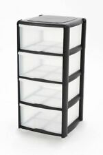 A4 Plastic Tower Drawer Black Storage Unit Home Bathroom Kitchen Office