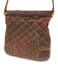 Etro Paisley Quilted Lizard Embossed Leather Shoulder Bag