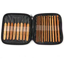 20 X in Legno di Bambù Ferro da Maglia Uncinetto Set fai da te con custodia 1 - 10mm