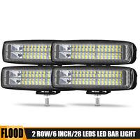 4x 2x 6inch 28W LED Work Light Bar 28W Driving Fog Lamp Flood Off-road 4WD ATV