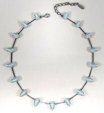 SoHo® Collier Kette true vintage bohemia glas tropfen hellblau mit streifen 60er