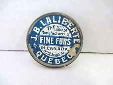 Early Antique Orig JB Laliberte Quebec CA Fine Furs Advertising Pocket Mirror