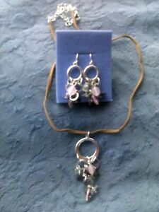 Avon Hoopy Necklace And Earrings Set With Rose Quartz And Amethyst New In Boxes