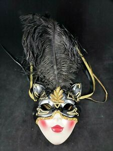 1991 Clay Art Cat Mask with Black Feathers Feline Wall Art